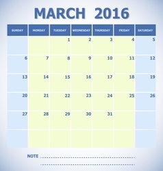 Calendar March 2016 week starts Sunday vector image vector image