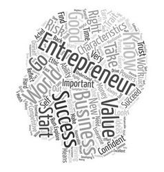 characteristics of entrepreneur 1 text background vector image vector image