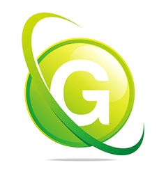 circle globe round letter g green abstract vector image vector image