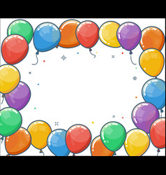 Colorful helium balloon frame vector