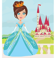 cute little princess and a beautiful castle vector image vector image