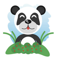 cute panda animal winking vector image