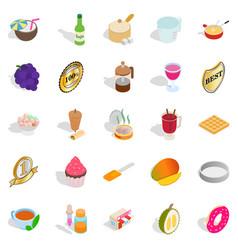 dessert icons set isometric style vector image