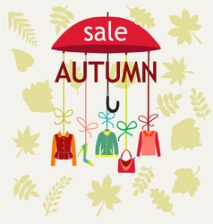 Fashion autumn sale background with leaves vector