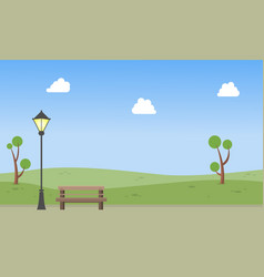 Garden with chair and street lamp landscape vector