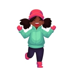 Happy little black skinned girl in winter clothes vector