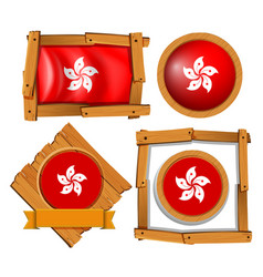 Hong kong flag on round and square frames vector