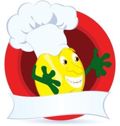Lemon cartoon character with promo ribbon vector