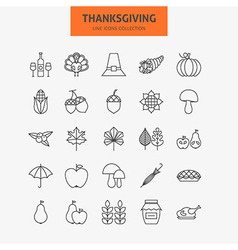 Line Thanksgiving Day Holiday Icons Big Set vector image vector image
