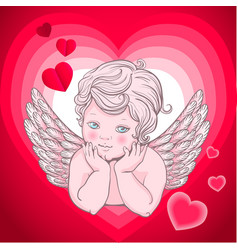 Little angel with wings cupid heart vector