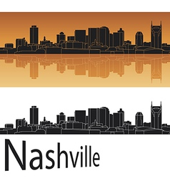 Nashville skyline in orange background vector