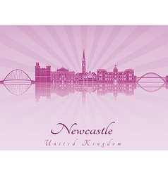 Newcastle skyline in purple radiant orchid vector
