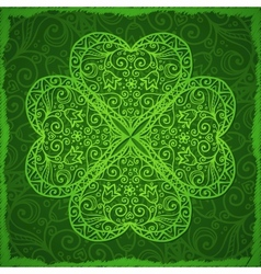 Ornate Saint Patricks Day background with clover vector image