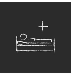 Patient lying on the bed icon drawn in chalk vector image vector image