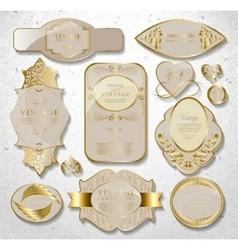 retro vintage set of white gold label vector image vector image