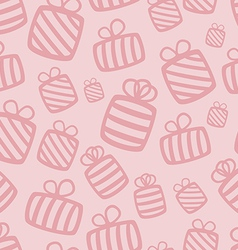 Seamless pink gift pattern vector image