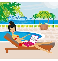 Woman sitting in deck chair and using laptop vector