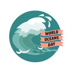 World ocean day card vector