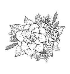Graphic floral vignette vector