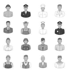 Professions icons set black monochrome style vector