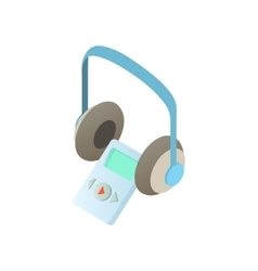 Museum audio guide headphones icon cartoon style vector