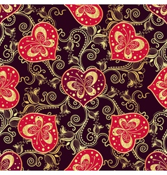 Valentine seamless dark pattern with purple hearts vector image