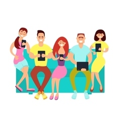 Friends using digital devices vector