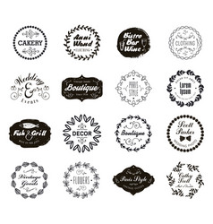 Set of various small business badges with vector