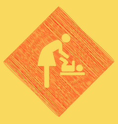 Women and baby symbol baby changing red vector
