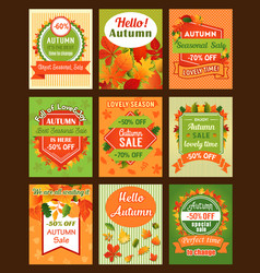 Autumn season sale retro banner and tag set design vector