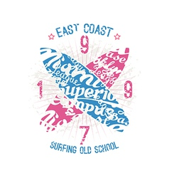 East coast surfing emblem vector