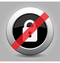 Gray chrome button - no closed padlock vector