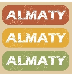 Vintage almaty stamp set vector