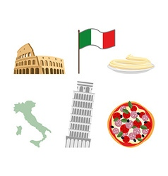 Set icons symbols of italy flag and map colosseum vector
