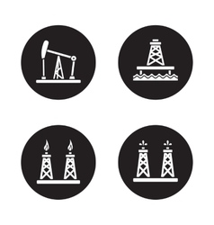 Oil drilling black icons set vector