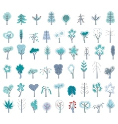 Set with different winter trees on white for your vector