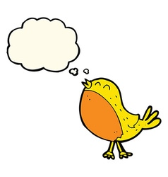 Cartoon singing bird with thought bubble vector
