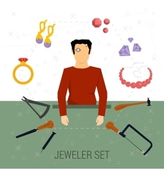 Icons set of jeweler profession vector