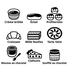 French dessert pastry and cakes icons - creme bru vector