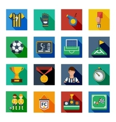 Soccer flat squared icon set vector