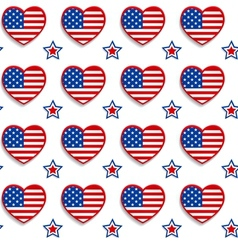 American seamless pattern with hearts and stars vector