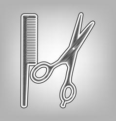 Barber shop sign pencil sketch imitation vector