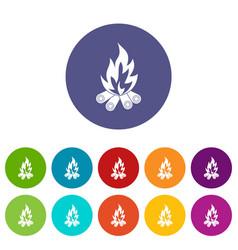 bonfire icons set flat vector image