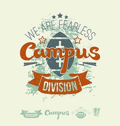 Campus rugby team emblem and icons vector image vector image