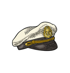 captain hat on white background vintage vector image vector image