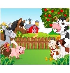 Cartoon happy animal collection vector image vector image