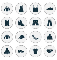 Clothes icons set collection of trilby beanie vector