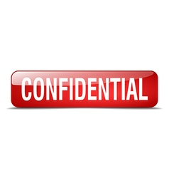 Confidential red square 3d realistic isolated web vector