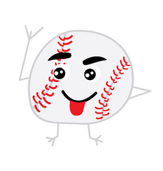 cute baseball ball cartoon character vector image