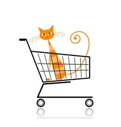 Cute cat in shopping cart for your design vector image vector image